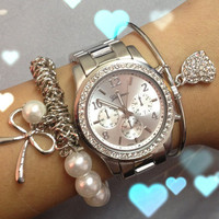 Silver Boyfriend Watch from Her Vanity Affair