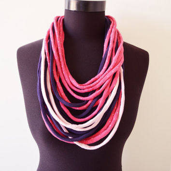 SALE! Pink purple necklace neck ornament loop scarf infinity scarf round scarf OOAK sweet strawberry cute girly adorable rose