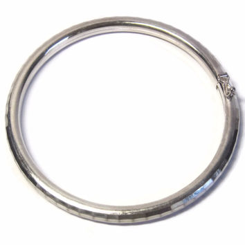 Vintage Italian Sterling Diamond Cut Bangle Bracelet 7 Inches