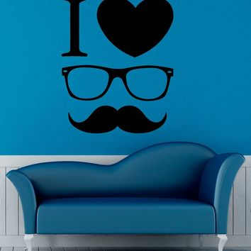 Hipster Glasses Mustaches Wall Decal Vinyl Stickers Fashion Style Home Interior Design Art Murals Bedroom Decor Made in US