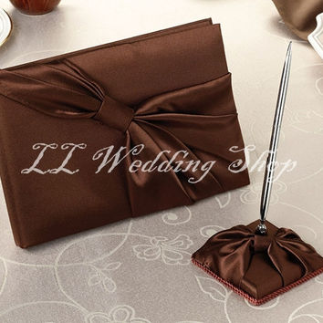Free shipping,Set of 2pcs New style Brown Satin Wedding Guest Book &Pen Holder Set Wedding Party Favor SWD04