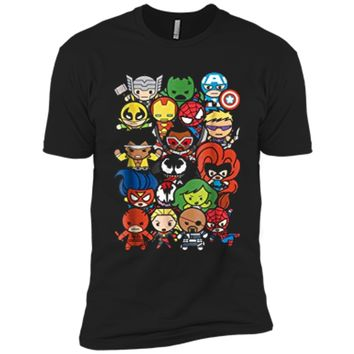Marvel Heroes And Villains Team Kawaii Graphic  Next Level Premium Short Sleeve Tee