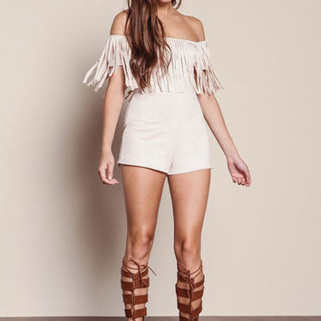 SAND FRINGE SUEDE OFF SHOULDER ROMPER