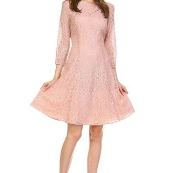 DCCKM83 Women's 3/4 Three Quarter Sleeve  Sequin Dress