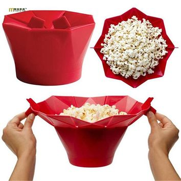 1PC Popcorn Bucket Bowls Microwave Popcorn Maker Foldable Pop Corn Bowl Microwave Safe Popcorn Maker Kitchen Bakingwares LN 003