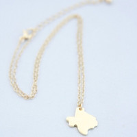 Tiny Gold Texas Necklace