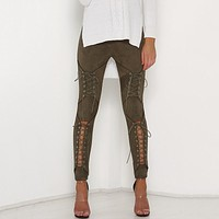 LACE-UP SUEDE SKINNY PANTS