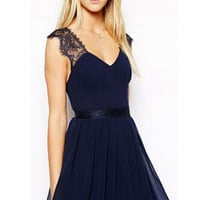 Dark Blue Chiffon Lace Panel Dress