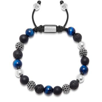 Men's Beaded Bracelet with Onyx, Blue Tiger Eye, Lava Stone and Silver