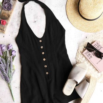 cotton candy - fairgrounds linen romper - black