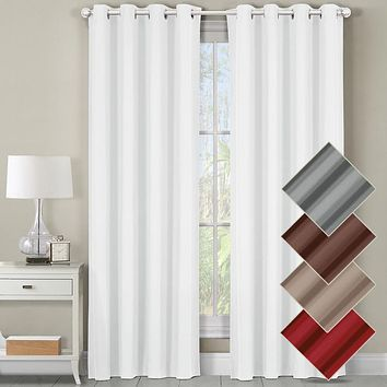 Heavyweight Room-Darkening Grommet Curtains Single Panel