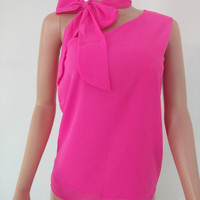 Chiffon One Shoulder Vest Top with Scarf