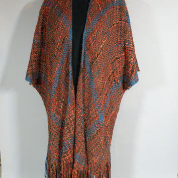 Ruana, Handwoven Women's Fashion Wrap, Cape, Cloak, Mantel, Overcoat, Winter, Spring, Day or Evening Casual Stylish, Nubby & Smooth Textured