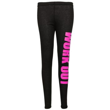 New Lady Popular Seamless Slim Leggings Letter Print Mid Waist Legging Jeggings Blue, Gold, Green, Hot pink, Orange, White