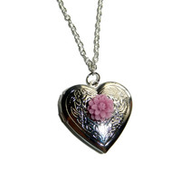Silver Heart Locket with Purple Flower Charm Necklace