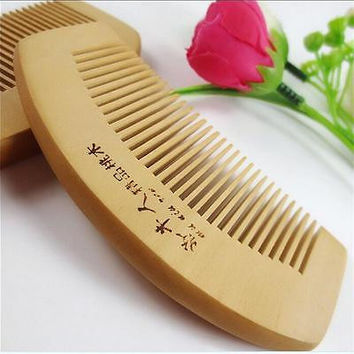 Natural wide tooth Peach wood no-static massage hair wood comb gift