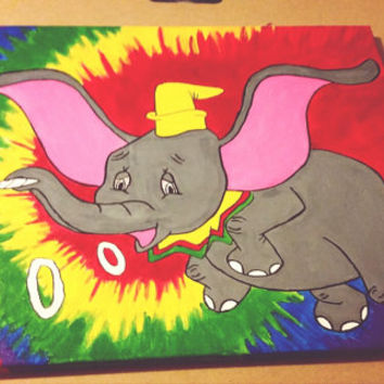 Tie Dye Disney Character Smoking Canvas Painting