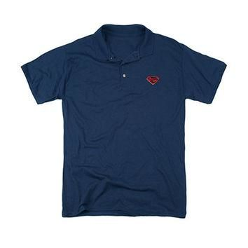 Superman Man Of Steel Blue Polo Shirt