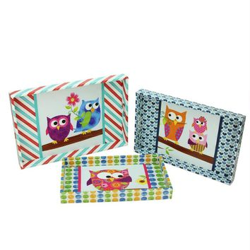 Set of 3 Multicolored Decorative Vintage-Style Owl Wooden Rectangular Serving Trays