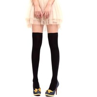 Cocobla Womens Over the Knee Cotton Socks Thigh High Cotton Stockings (Black)