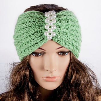 HandMade Knitting Headband, Ear Warmer, Green Cable headband, Fall Hair Band by LoveKnittings