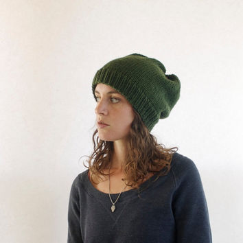 Slouchy Beanie - Winter Hat - Oversized Knitted Beanie - Olive Green