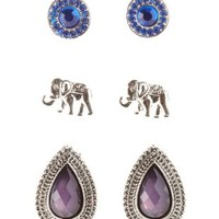 Silver Elephant & Stone Stud Earrings - 3 Pack by Charlotte Russe