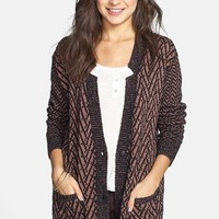 BP. Chevron Pattern Oversized Cardigan (Juniors) | Nordstrom