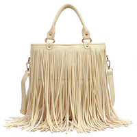 Long Tassel Cream Handle Bag [AB2131] - $86.99 :