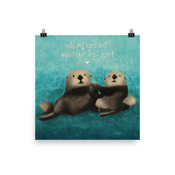 Sea Otters in Love Art Print - Otters Holding Hands Poster - Ocean Print - Cute Sea Life