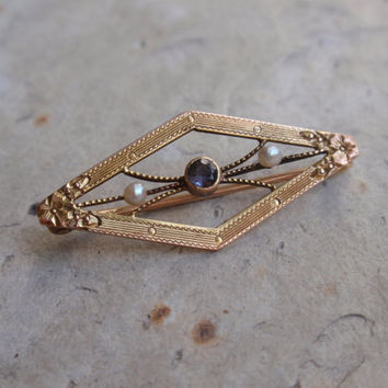 Art Deco Blue Topaz and Pearl Brooch 10k Victorian lingerie pin seed baroque flowers dogwood forget me not triangle December birthstone