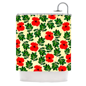 "Sreetama Ray ""No More Peonies"" Red Green Shower Curtain"
