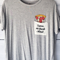 Love At First Bite Pizza Pocket Tee Shirt in Grey