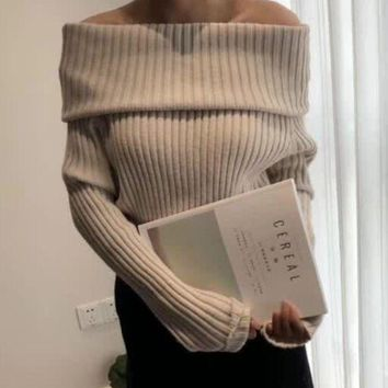 Autumn and winter new fashion simple design rabbit cashmere yarn long sleeve knit sweater