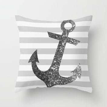 GLITTER ANCHOR IN SILVER Throw Pillow by Colorstudio | Society6