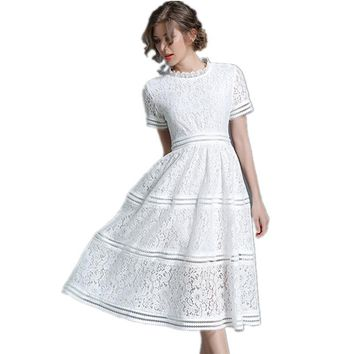 Clobee 2017 white women summer floral hollow out dress in lace A-line empire waist tunics elegant dress vestidos de festa P3
