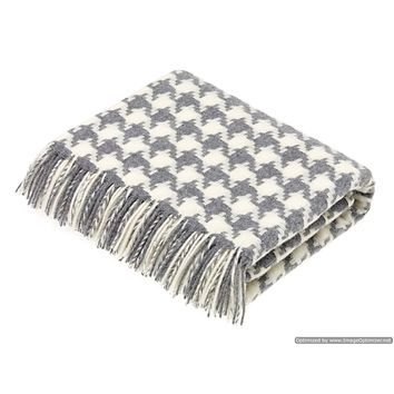 Merino Lambswool Throw Blanket - Houndstooth - Gray, Made in England