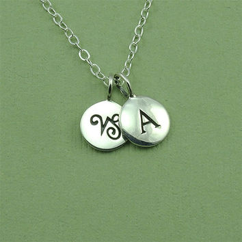 Zodiac Initial Necklace - Aries -Taurus - Gemini - Cancer - Leo - Virgo - Libra - Scorpio - Sagittarius - Capricorn - Aquarius - Pices