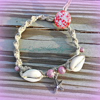 Starfish Cowrie Shells Anklet, Pink, Hemp. Macrame, Vintage, Hippie, Boho, Direct Checkout
