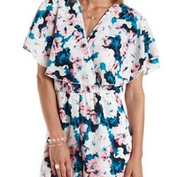White Combo Floral Print Flutter Wrap Romper by Charlotte Russe