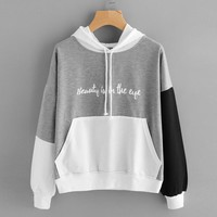 """Tri colored hooded lightweight sweatshirts """"beauty is in the eye"""" ~ Plus size available"""