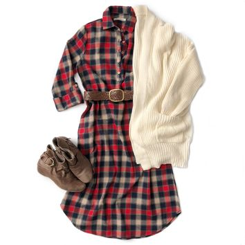 Red Plaid Button Up Flannel Dress