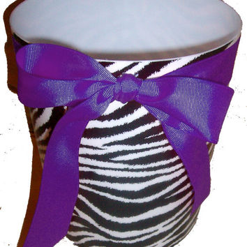 Zebra Print Waste Basket - Trash Can - Black & White - with Purple Ribbon and  Bow