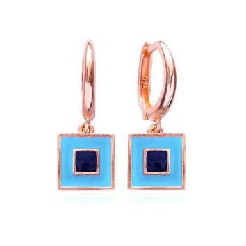 Gold Turquoise ,Navy Blue Square Earring Hoop Dangle 925 Sterling Silver