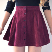 Lisa Button Skirt - Maroon (Medium only)