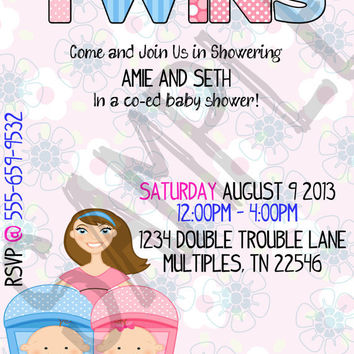 Expecting Twins Co-Ed Baby Shower/Joint Baby Shower Personalized, Printable Baby Shower Invitations with Design Variations