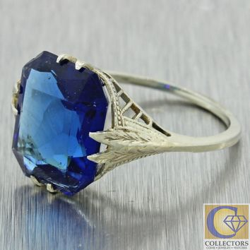 1930 Antique Art Deco 14k White Gold Cushion Cut Blue Glass Cocktail Ring