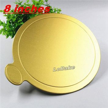 CREYLD1 (10pcs/pack) 8 inches golden round paper cake place mat cupcake bread placemats cake slicer holder tabletop accessories