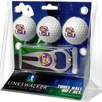 LSU Tigers 3 Ball Gift Pack with Hat Trick Divot Tool