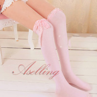 Japanese Girl Uniform Lace bowknot Knee Cosplay lolita Socks Thigh-Highs Hose